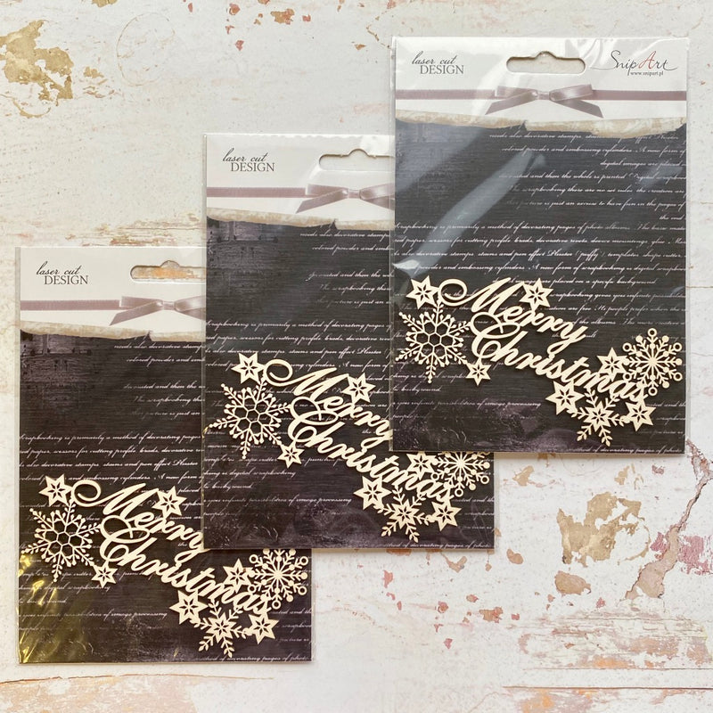 SnipArt Chipboard Set - Merry Christmas Sentiment x3