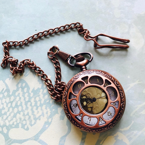 Vintage Pocket Watch, large - Copper