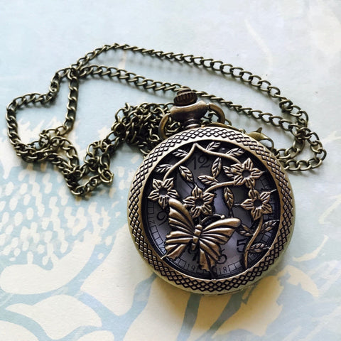 Vintage Pocket Watch, large - Butterfly
