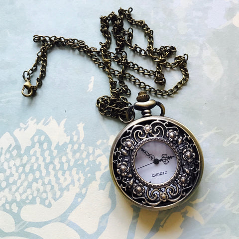Vintage Pocket Watch, large - Tiny Flowers