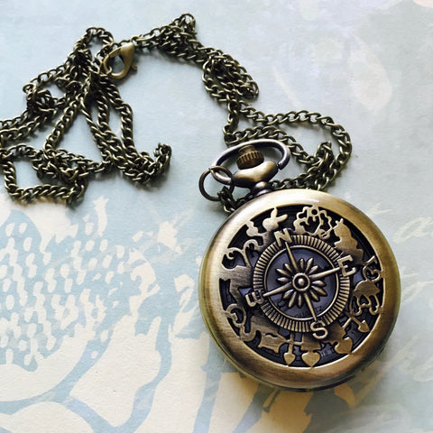 Vintage Pocket Watch, large - Compass