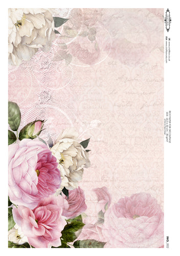 Decoupage Rice Paper - My Garden Peonies (A4)