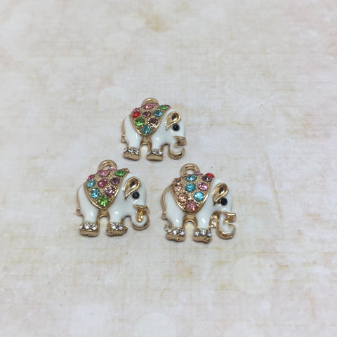 Crystal Elephant Charms - Set of 3