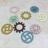 Coloured Metal Cog Charms - Set of 9