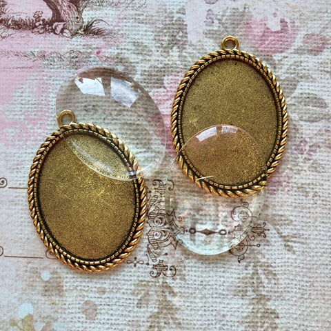 Hardware Collection - Gold Bezels with Glass Caochons