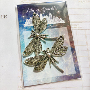 Silver Dragonflies x2