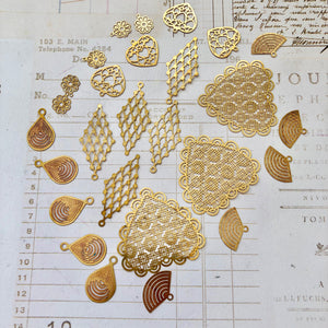 Gold Filigree Stamps (laser-cut metal)