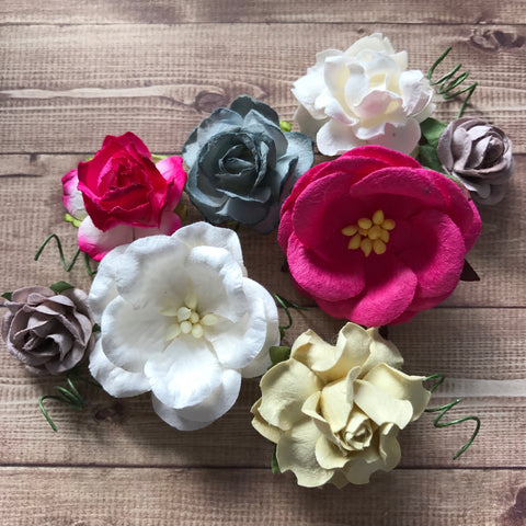 Craft Box Flowers - Fuchsia, Grey and White