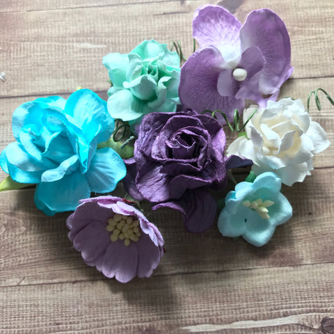 Craft Box Flowers - Purple and Turquoise