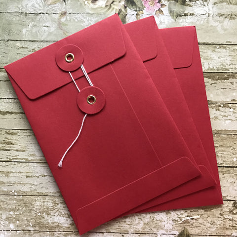 String and Washer Envelopes - Red