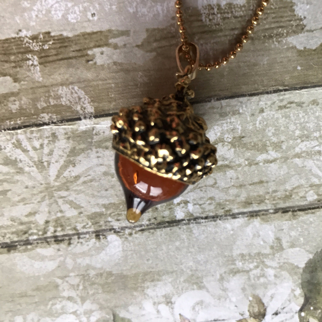 Acorn Pendant - Gold (no chain)