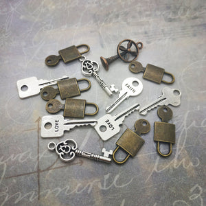 Pack of mixed keys and locks charms
