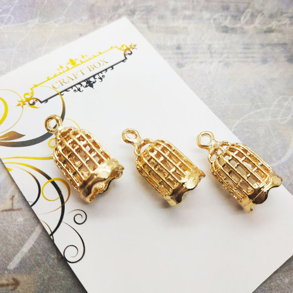 3 x mini gold bird cages
