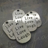 5 x Live Love Laugh silver charms