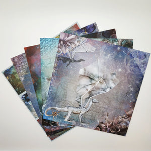 August Replay - Craft Box Mermaids and Dragons 6x6 papers (5 sheets)