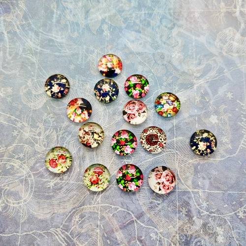 Floral Glass Cabochons (15)