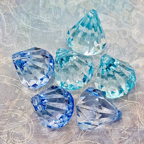 Crystal Pendants (clear acrylic) - Winter Blues
