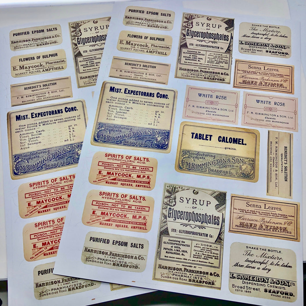 Vintage Apothecary Labels (2 sheets)