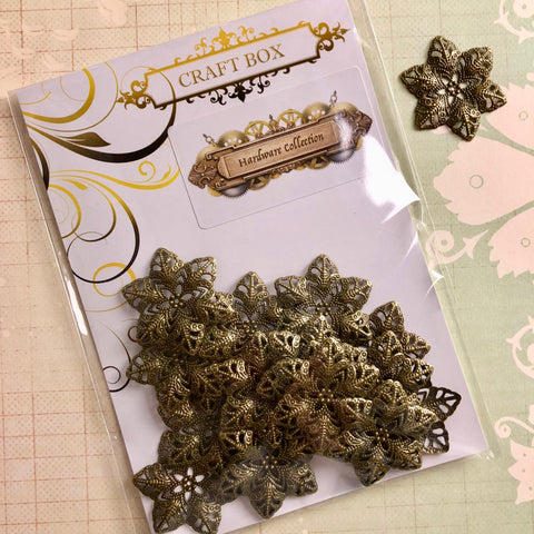Hardware Collection - Filigree Flower Petals Brass
