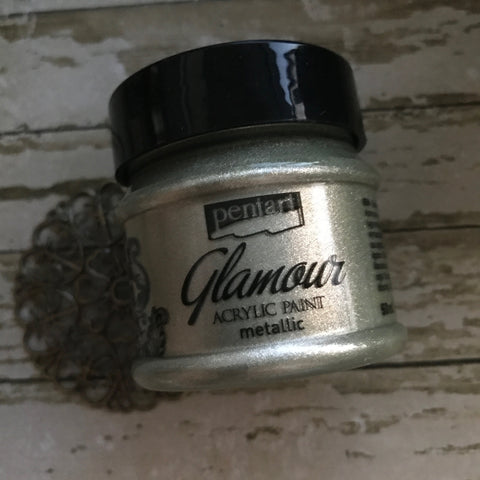 Pentart Glamour Paint - Antique Silver