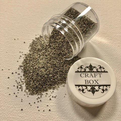 Craft Box Micro Beads Metal Mix - White Gold and Gunmetal