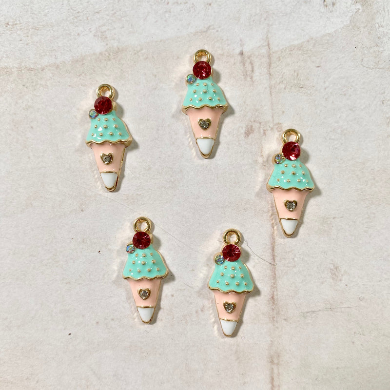 Itsy Bitsy - Enamel Ice Cream Charms with Crystals