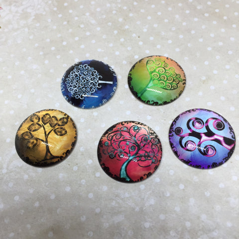 Colour tree cabochons - set of 5