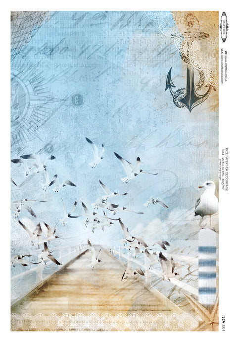 Decoupage Rice Paper - Seaside Seagulls (A4)