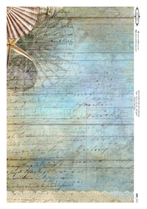 Decoupage Rice Paper - Seaside Wood Script (A4)