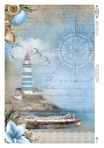 Decoupage Rice Paper - Seaside Shore (A4)