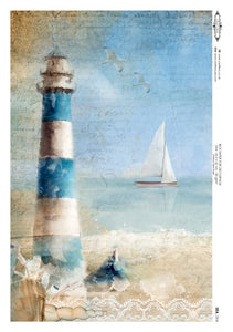 Decoupage Rice Paper - Seaside Lighthouse (A4)