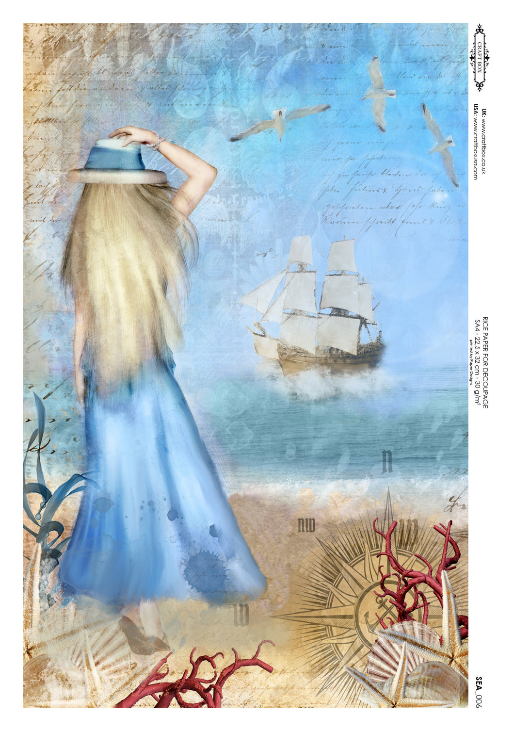 Decoupage Rice Paper - Seaside Girl (A4)