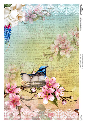 Decoupage Rice Paper - Spring Nest (A4)