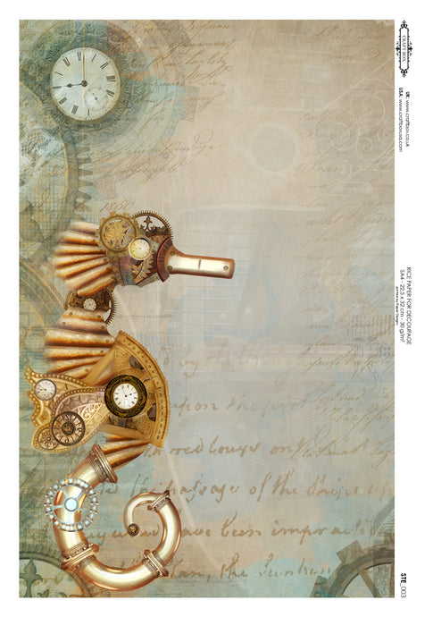 Decoupage Rice Paper - Steampunk Seahorse (A4)