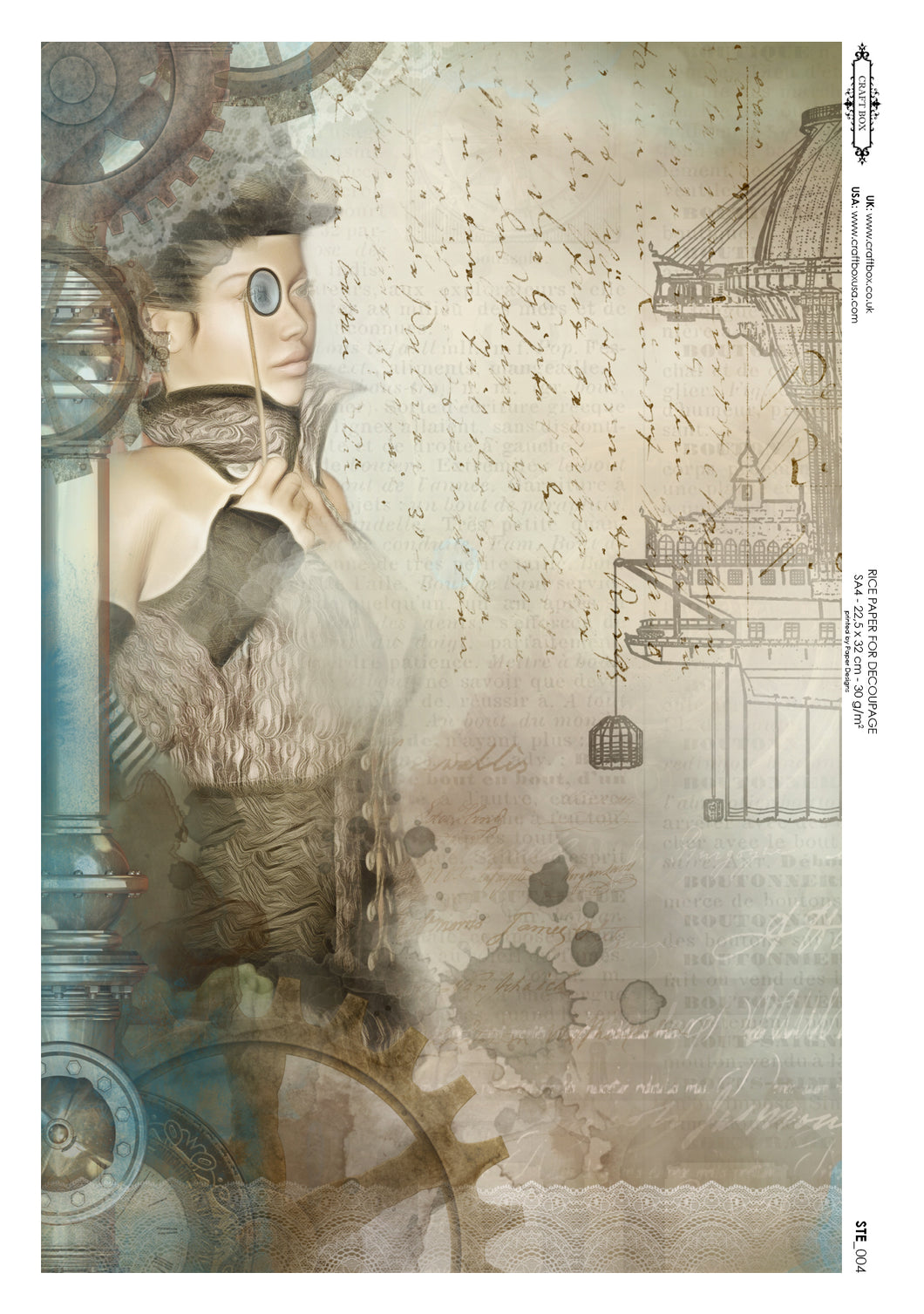 Decoupage Rice Paper - Steampunk Lady (A4)