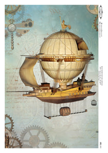 Decoupage Rice Paper - Steampunk Vessel (A4)