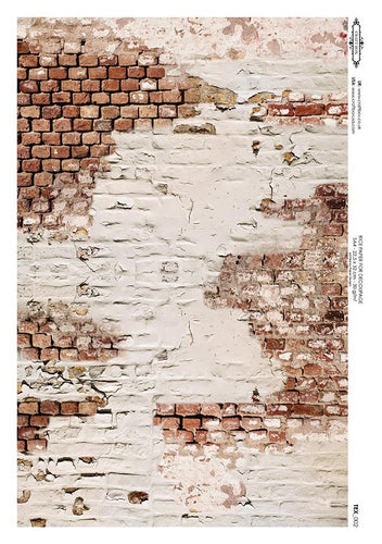 Decoupage Rice Paper - Distressed Wall (A4)