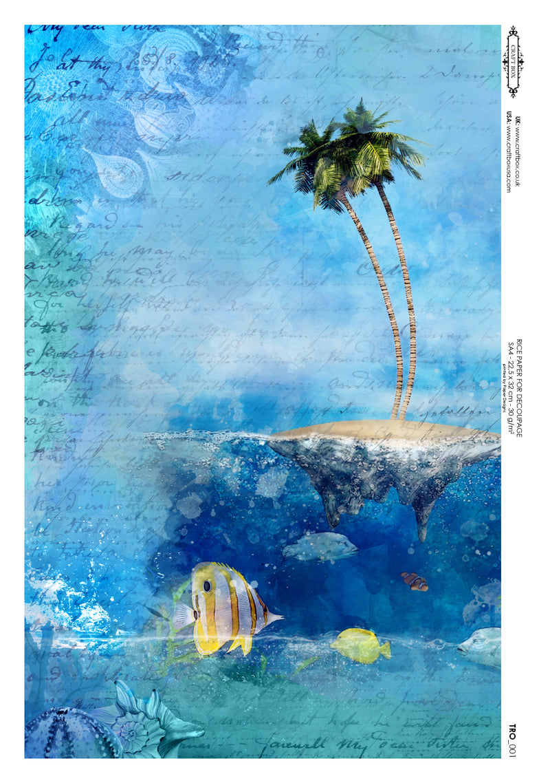 Decoupage Rice Paper - Sun and Sea Island (A4)