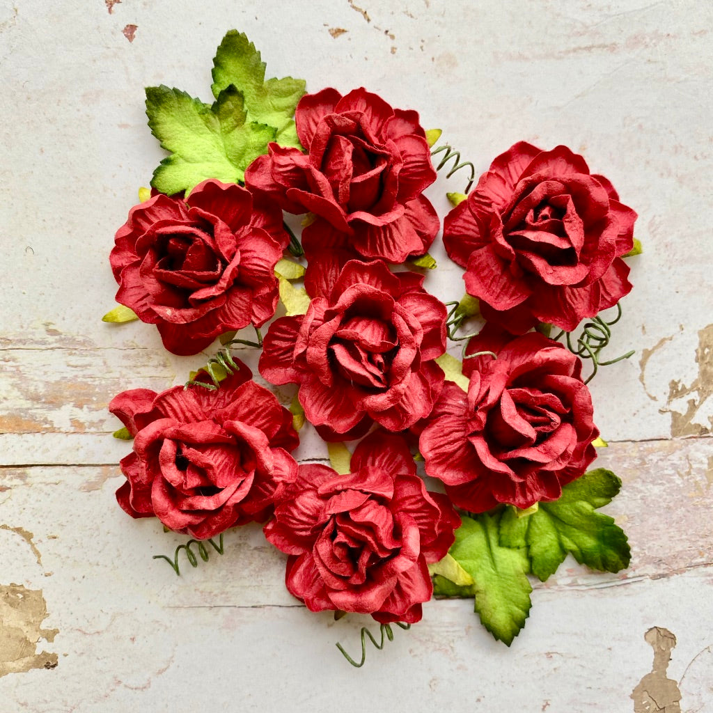 Christmas Flowers - Wine Red Roses with Leaves
