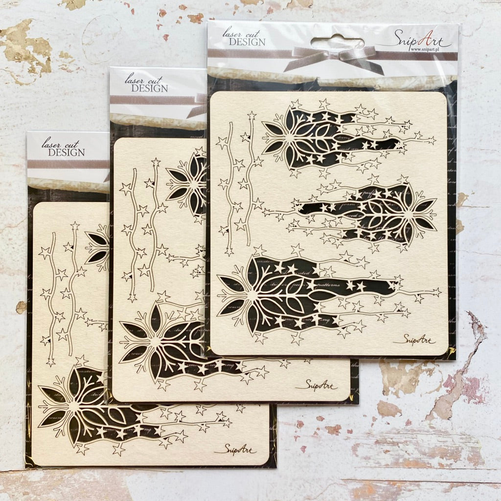 SnipArt Chipboard Set - Snowflake with Stars x3