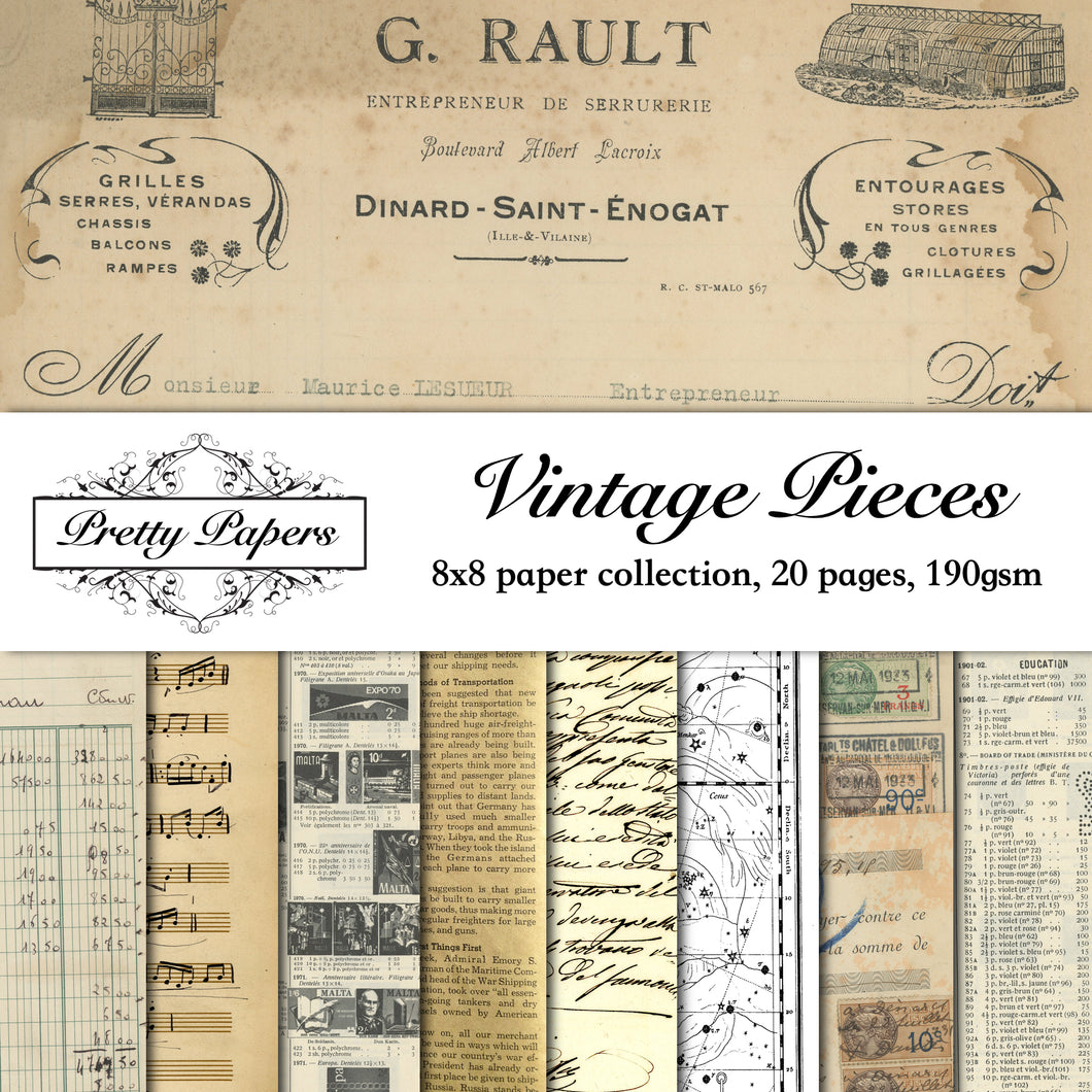 Vintage Pieces Paper Pad (size options available)