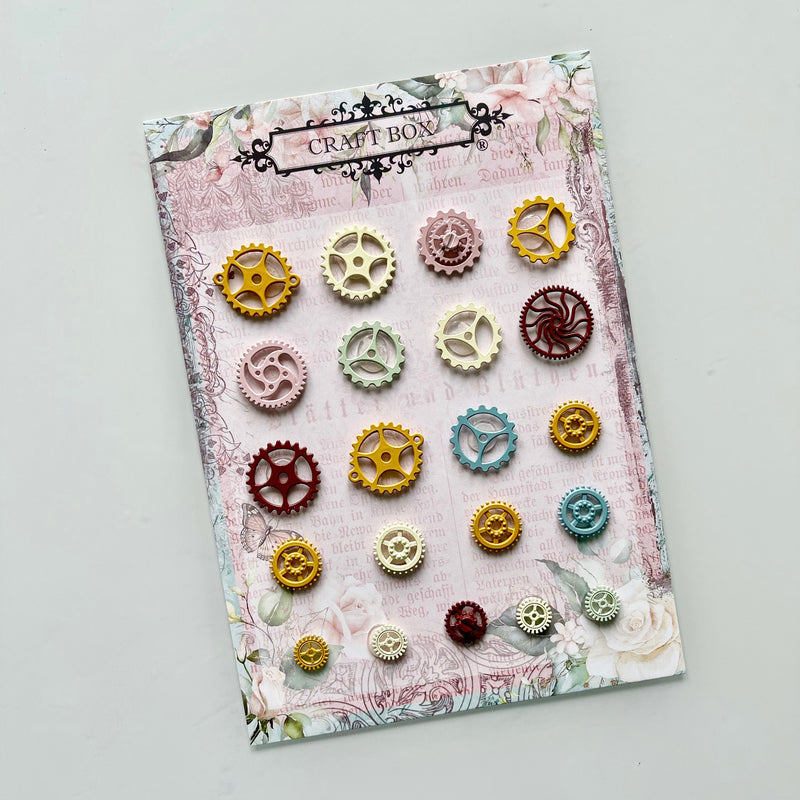 Colour Enamel Cogs Charm Set (large A5 pack)