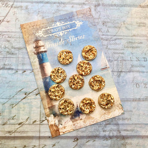 Seaside Stories - Gold Druzies 10mm
