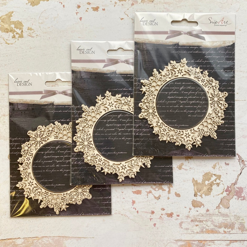 SnipArt Chipboard Set - Snowflake Frame Shaker x3