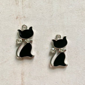 Itsy Bitsy - Black Enamel and Crystal Cats