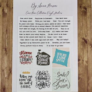 Come Home by Anna Hersom - Vinyl Word Stickers