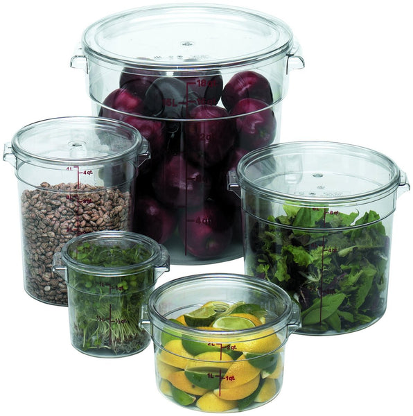 Camwear Round Food Storage Containers Clear W Covers