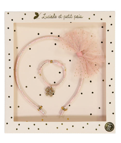 Hair band and bracelet pink gift sets