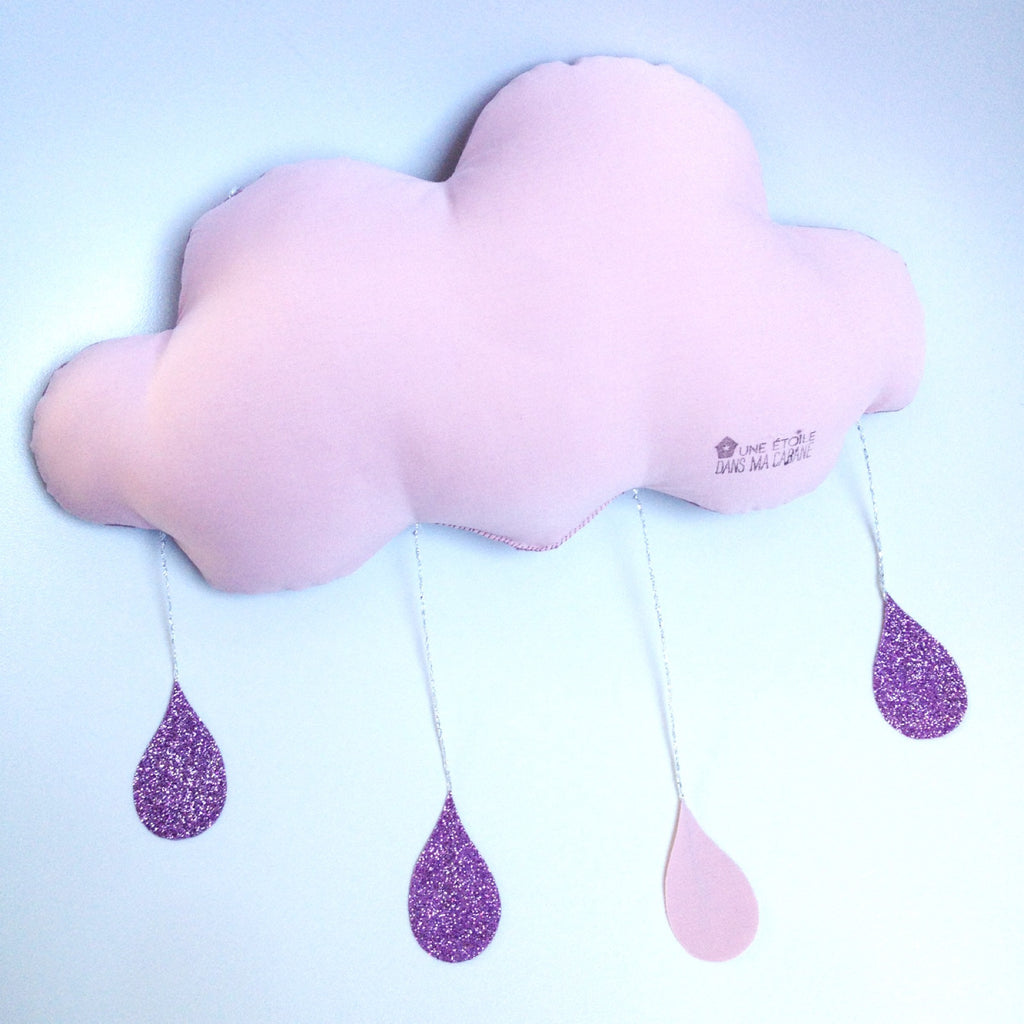 Glitter raining cloud mobile