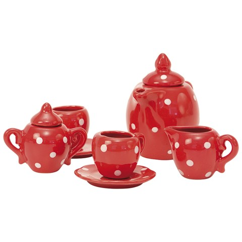 Red ceramic tea set